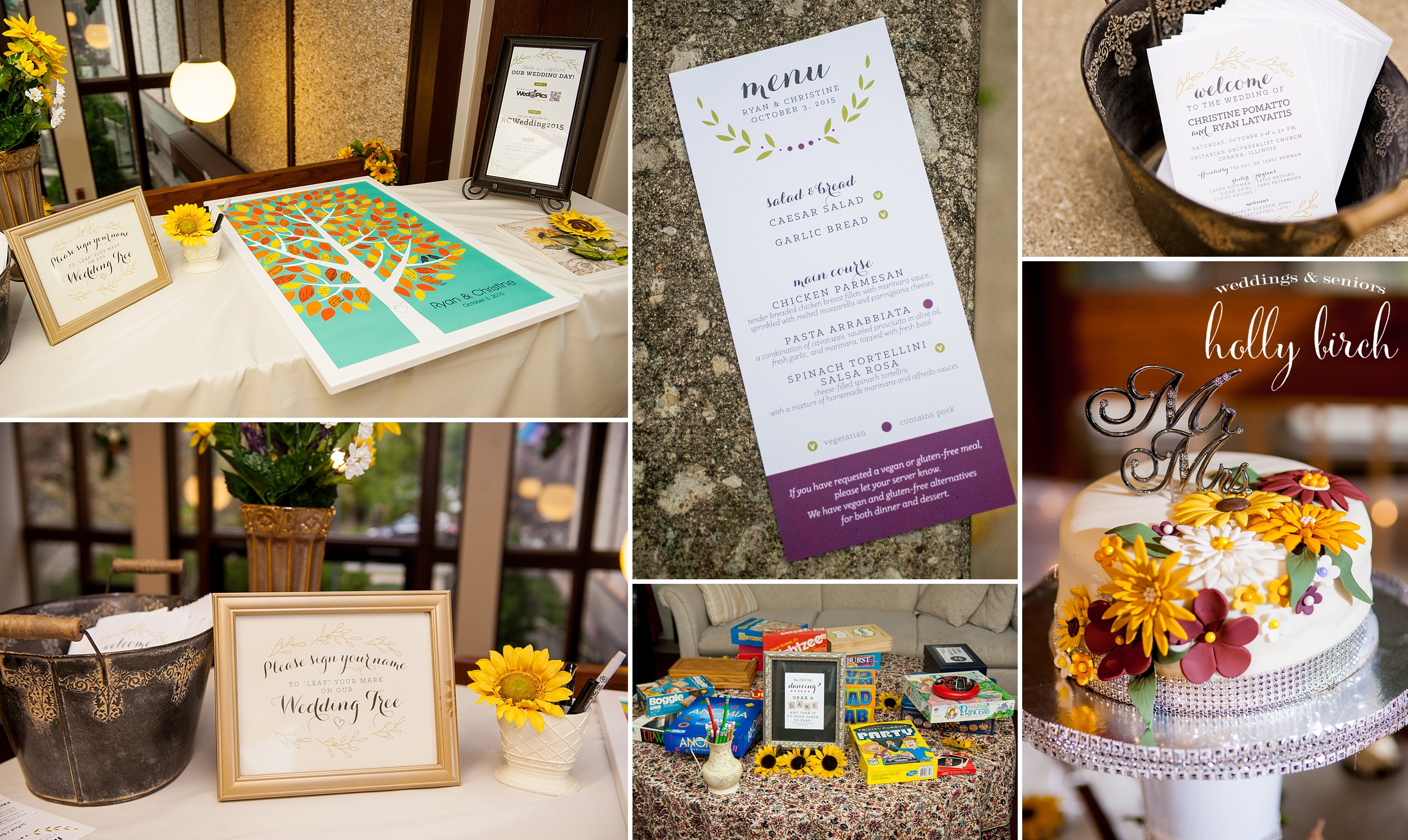reception details menu thumbprint tree