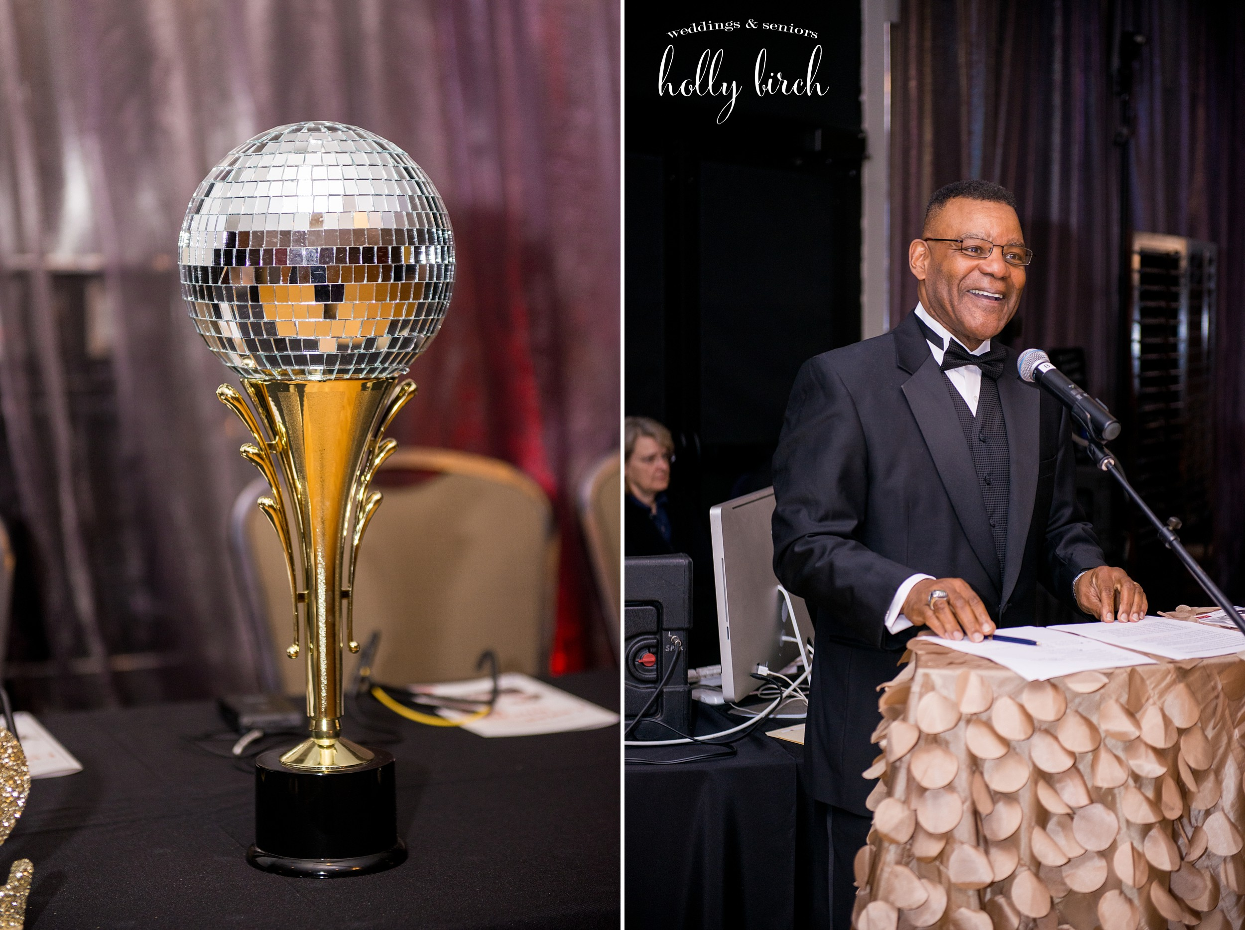 mirror ball trophy with Sam Banks