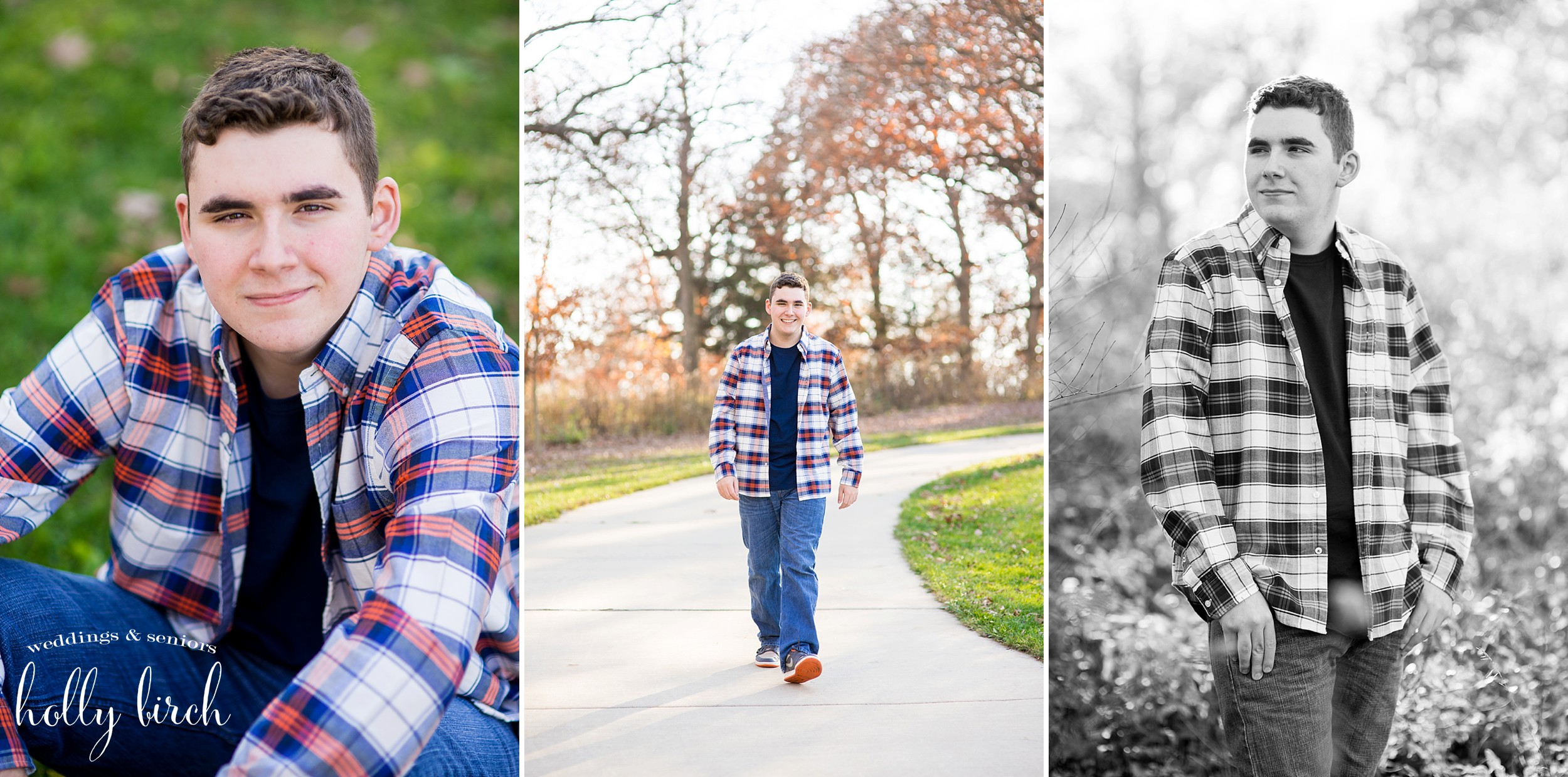 senior guy walking in fall with plaid shirt