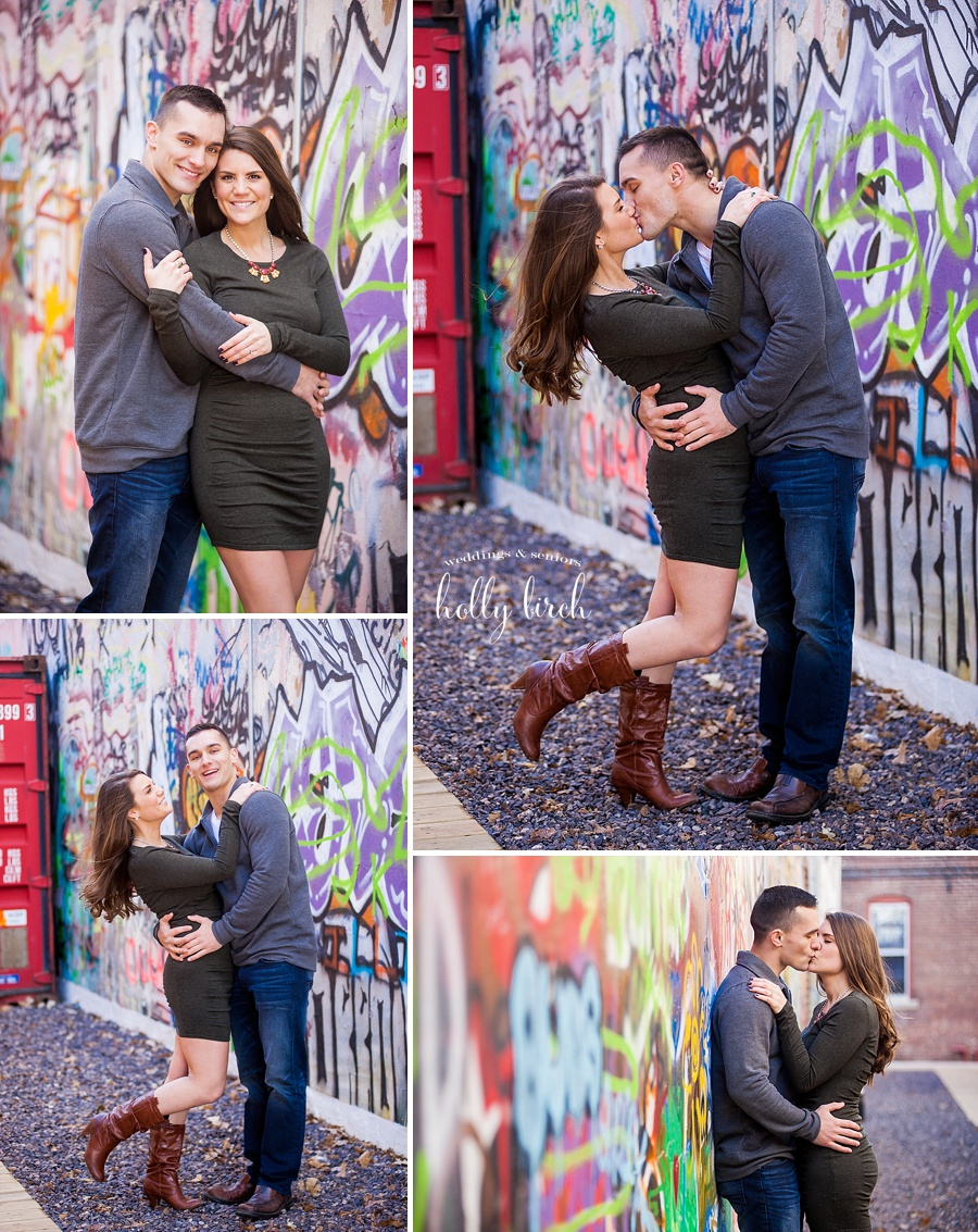 engagement pictures with graffiti