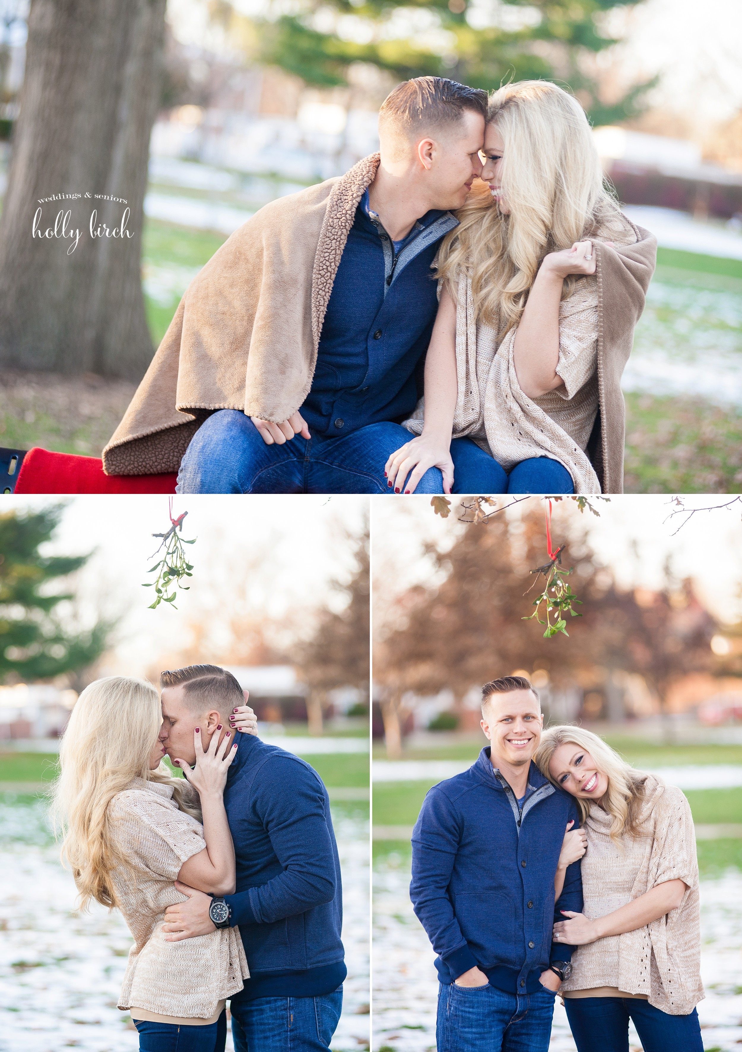 Christmastime snowy engagment with blanket