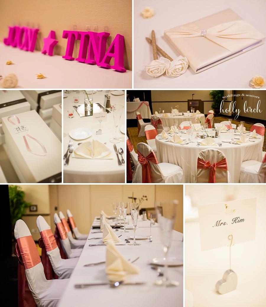 Hilton Champaign pink wedding reception