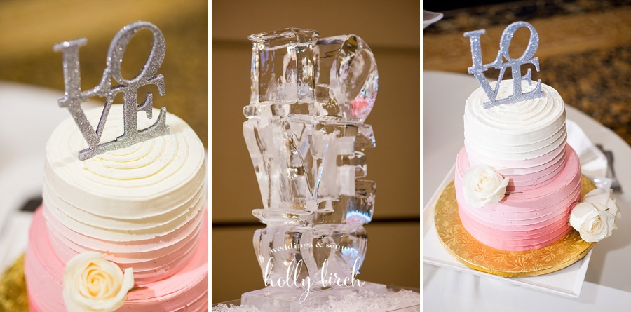 pink ombre cake and LOVE ice sculpture