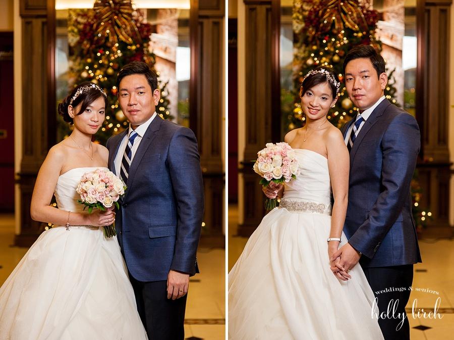 Christmas tree wedding photos with OCF