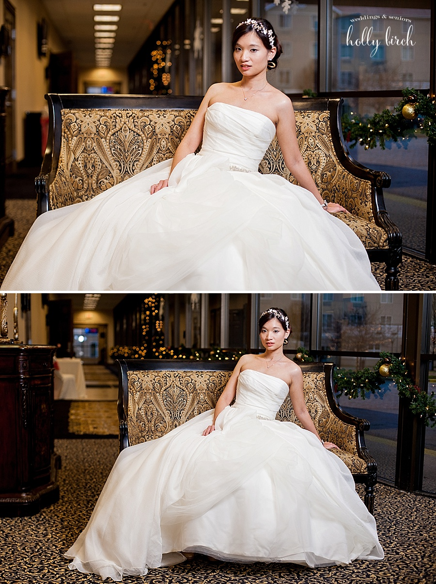 bridal portraits on bench