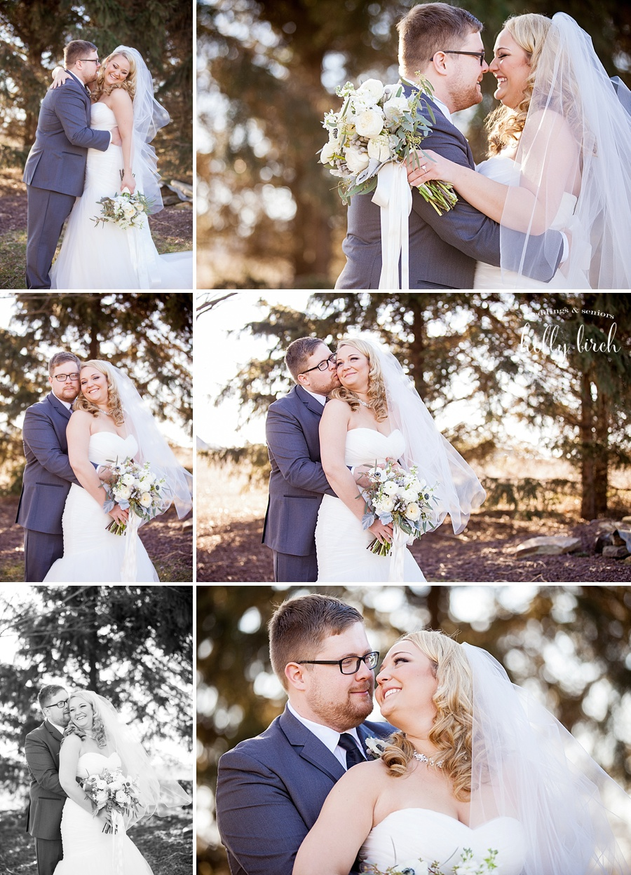 winter wedding pictures with evergreens