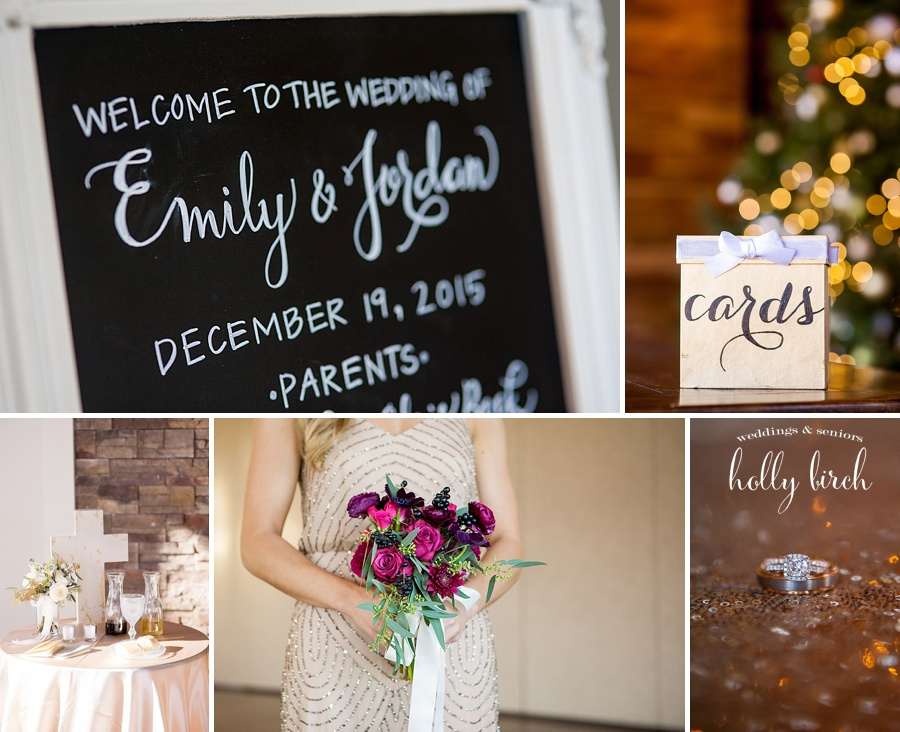 wedding details with holiday lights