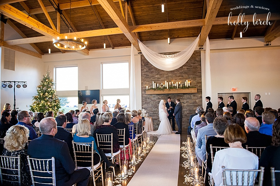 December wedding ceremony at Pear Tree
