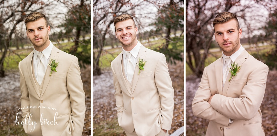 groom portraits in tan suit