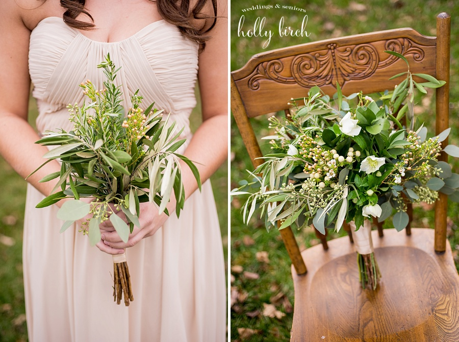 bridesmaid greens bouquet with wooden chair