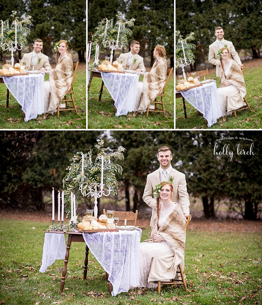 wedding couple with outdoor sweetheart table