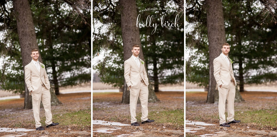 groom in tan suit by Elite Bridal