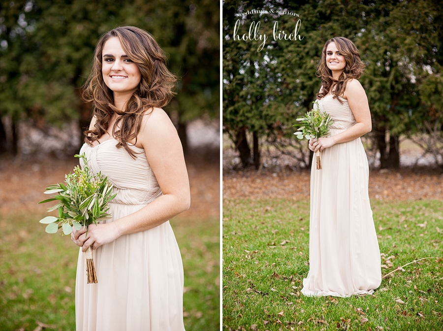 bridesmaid with beige Bari Jay dress