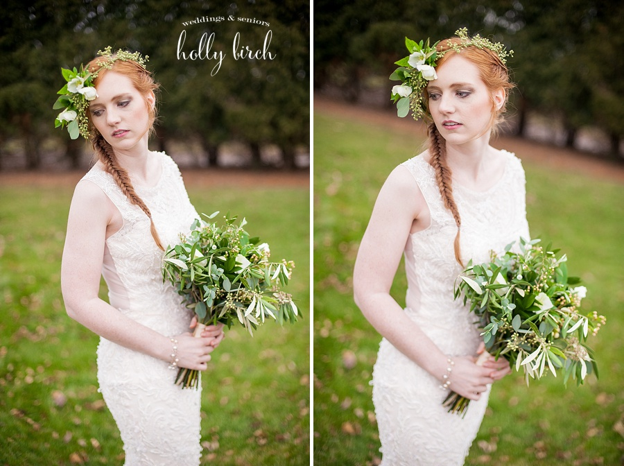 winter stylized wedding shoot floral crown