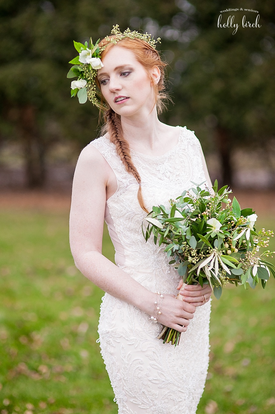 redhead bride with fishtail braid