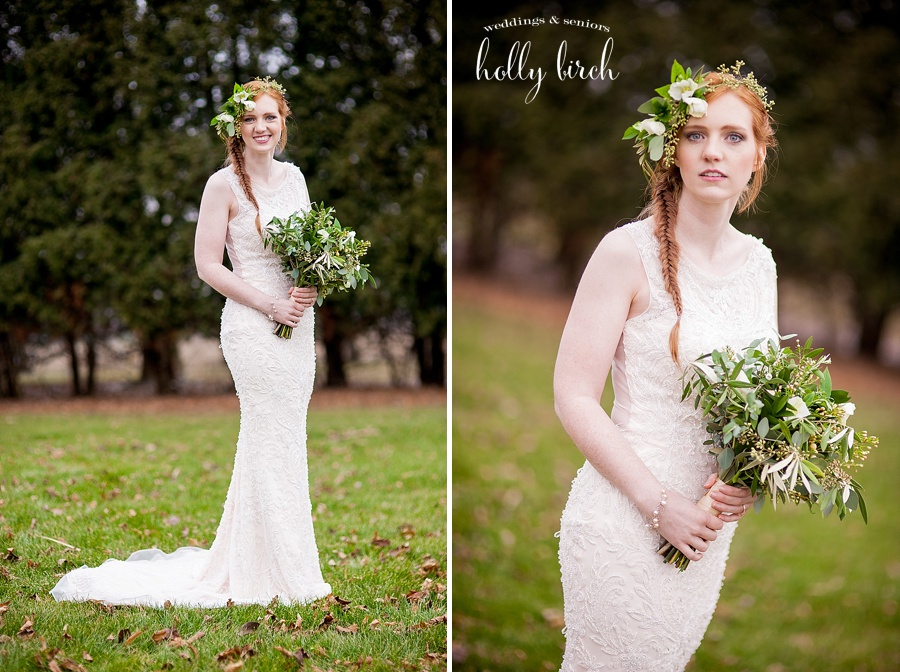 wedding florals with greens and white flowers
