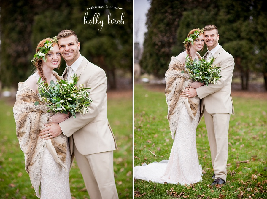 bride and groom with beige cream and green