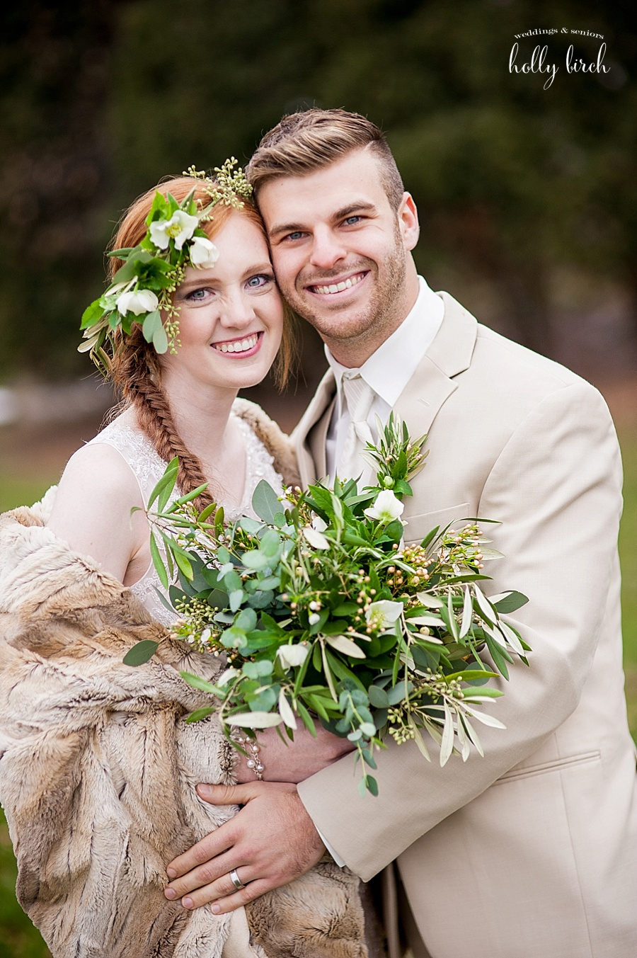 couple with greenery floral accents