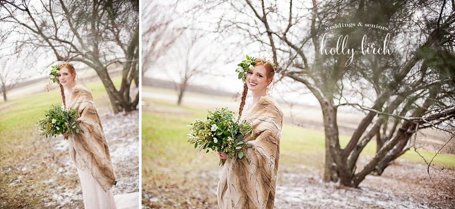 bride with fur blanket and trees