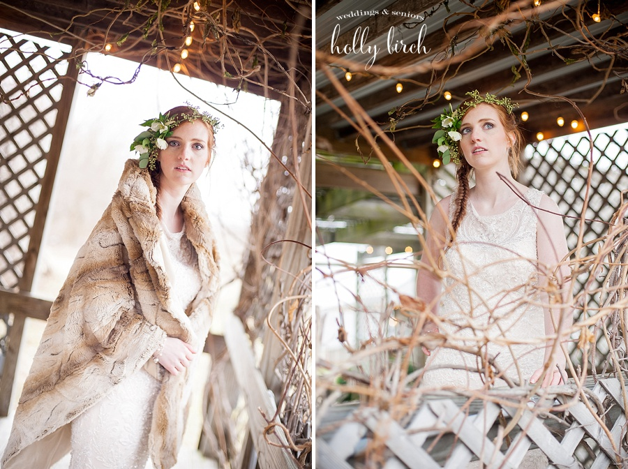 Bride under arbor with twinkle lights