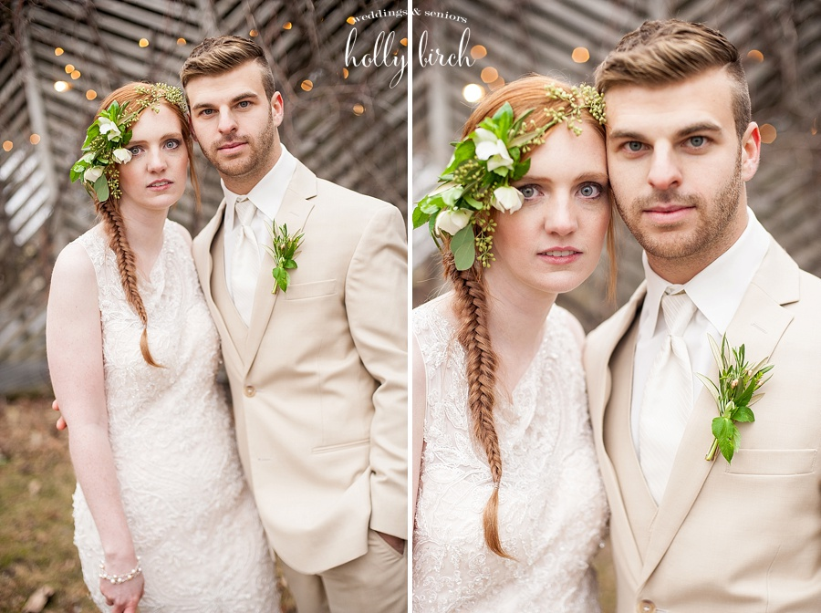 Bride and groom with beige suit
