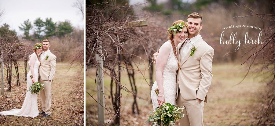 dormant vineyard wedding portraits