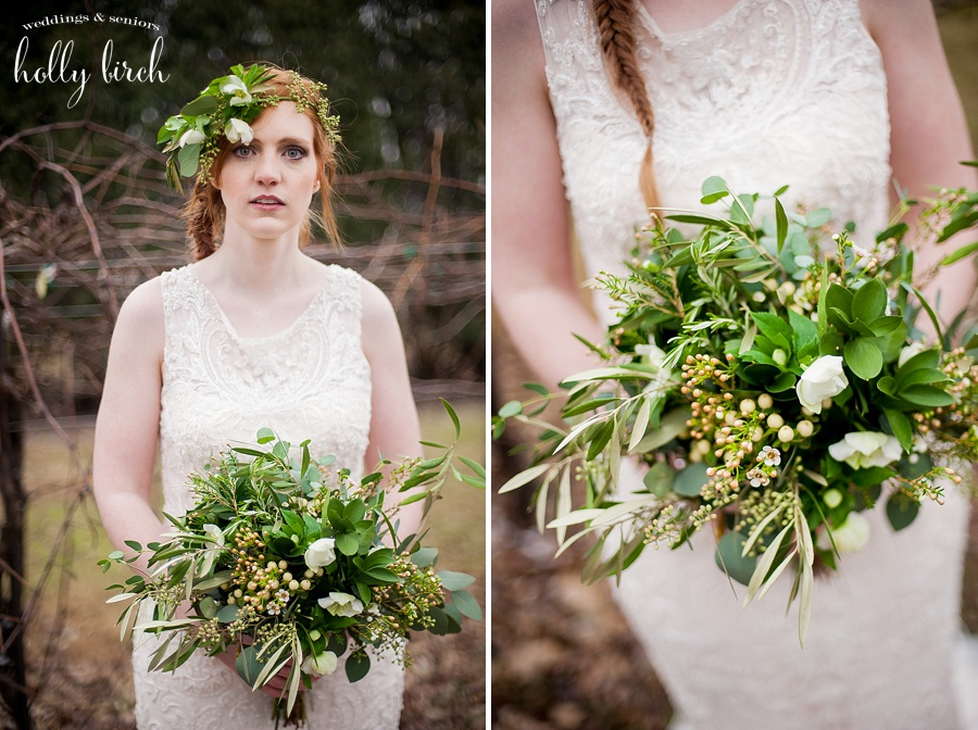 greens and white bridal bouquet