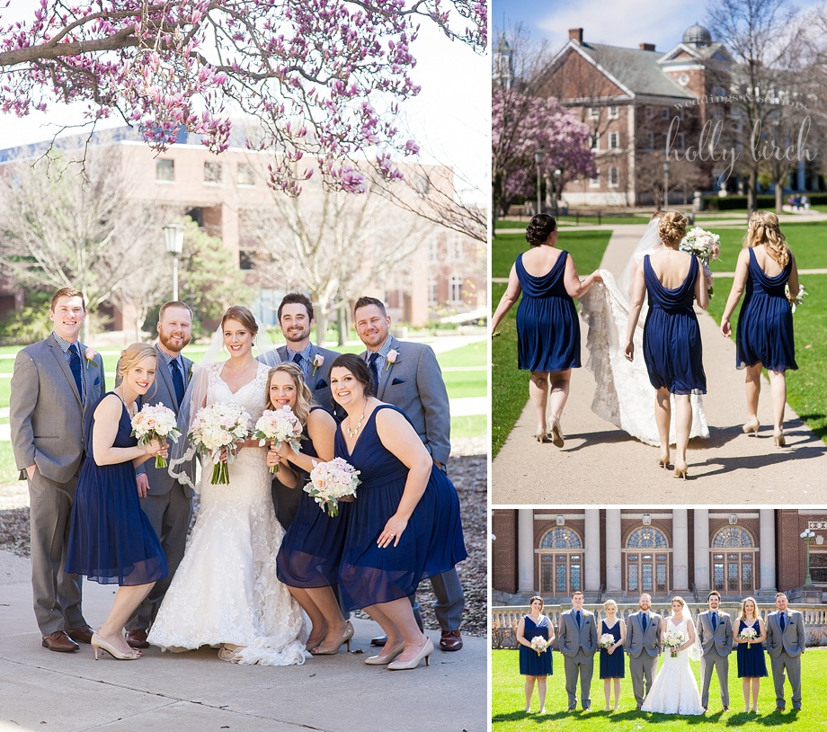 navy blush wedding party