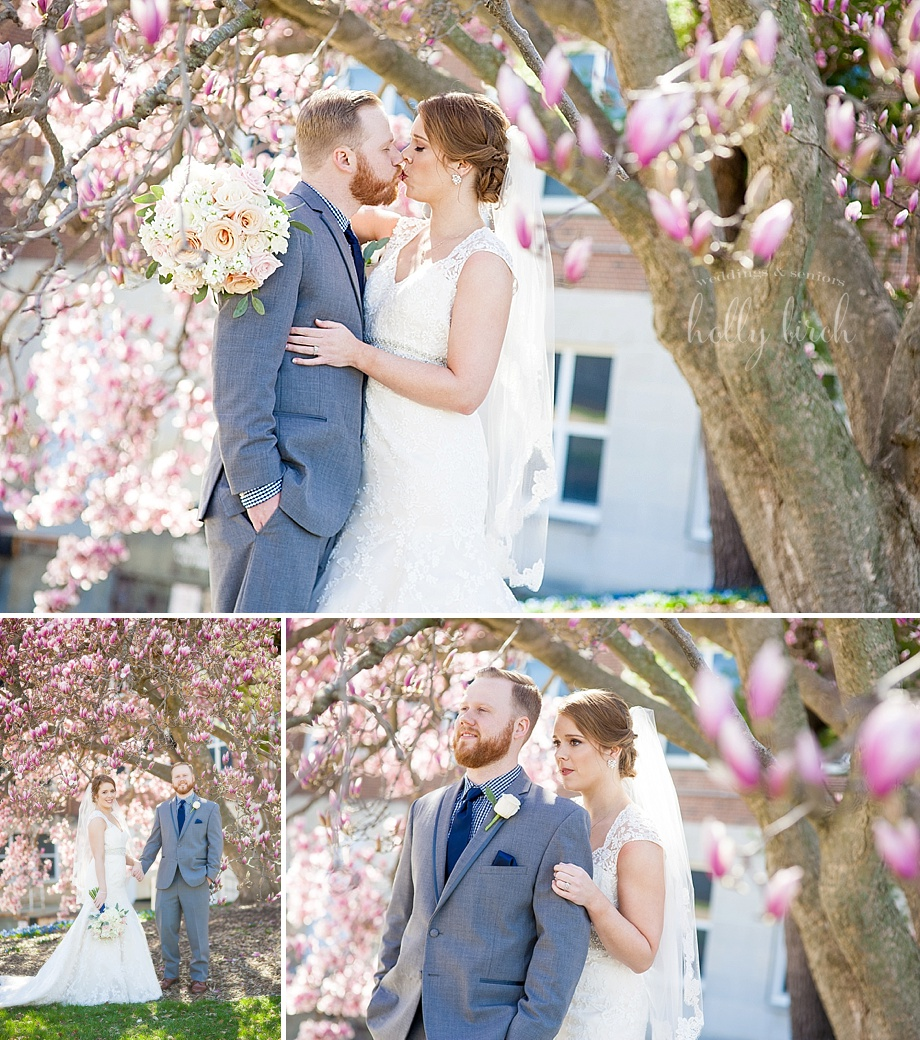 bride and groom with pink tree