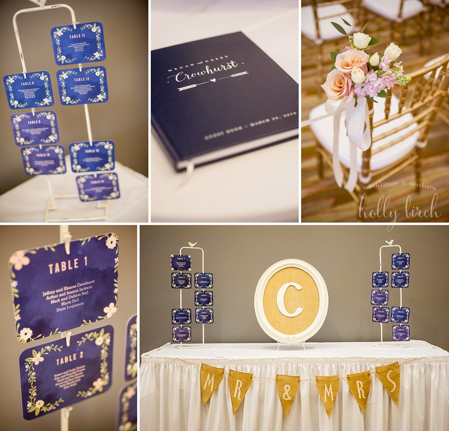 Navy wedding details and place cards