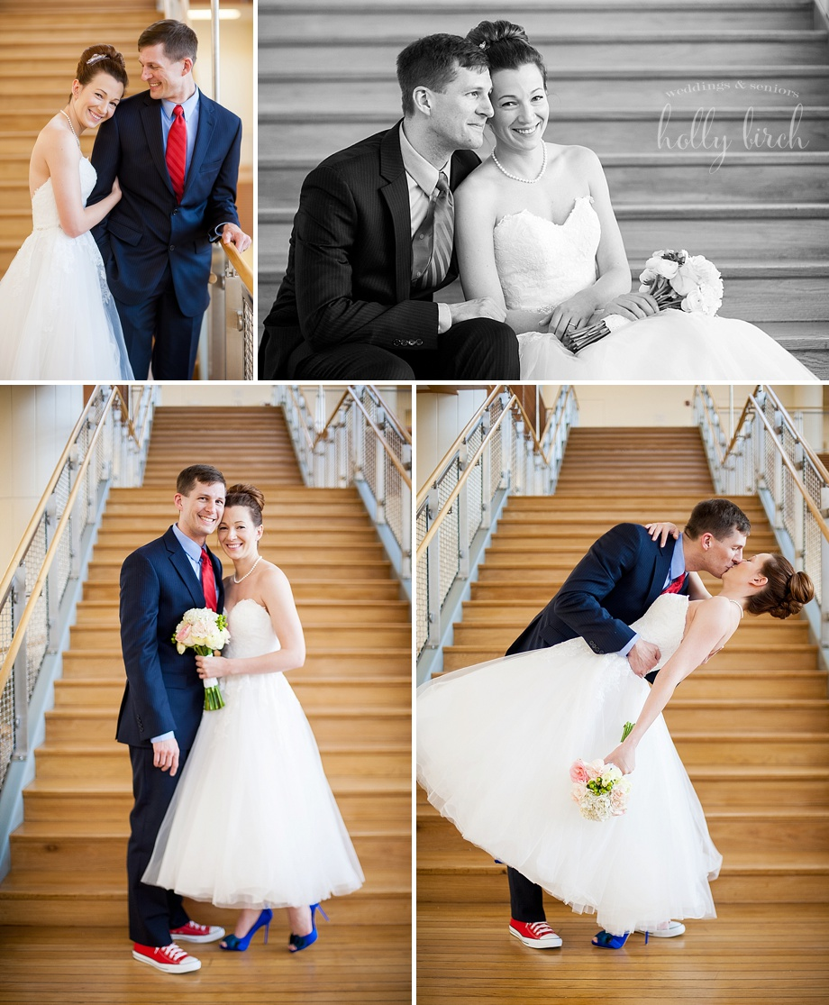 bride and groom with wooden stairs
