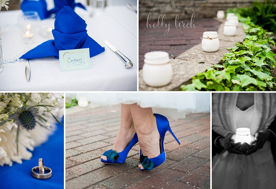 royal blue wedding napkins, shoes and candles