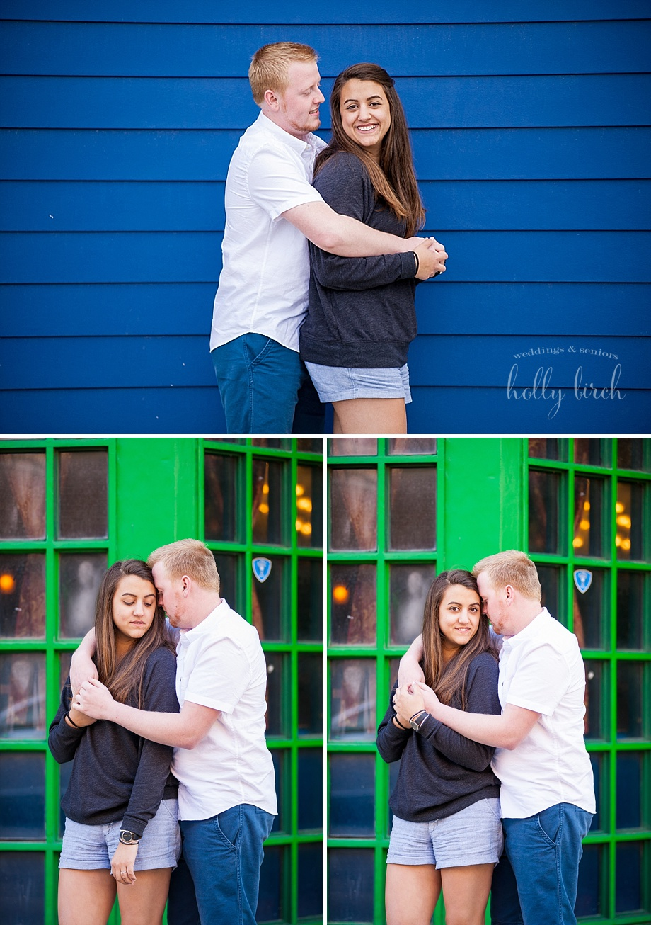 blue green wall backdrop