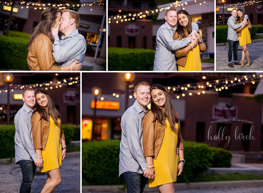 cafe bulb lights engagement session