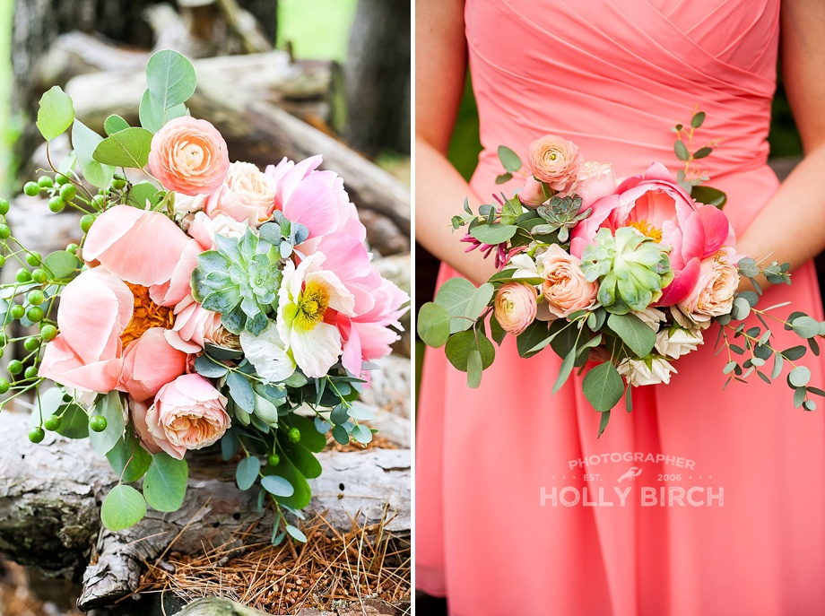 pink coral floral wedding bouquets