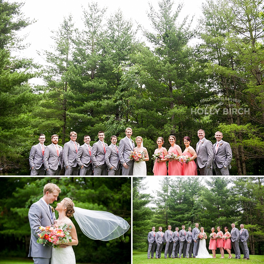 coral gray wedding party