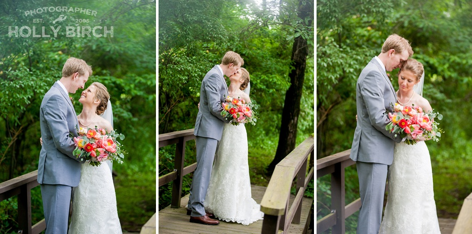 wedding couple on wooden bridge