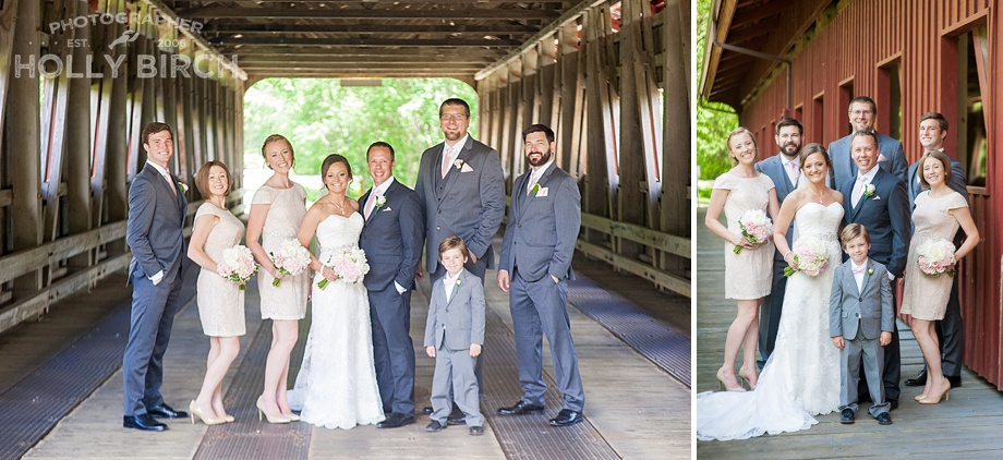 wedding party with covered bridge