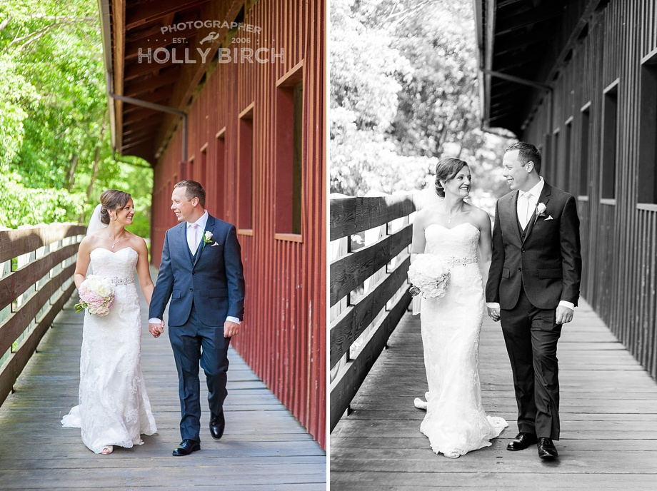 Casual walking portraits at covered bridge