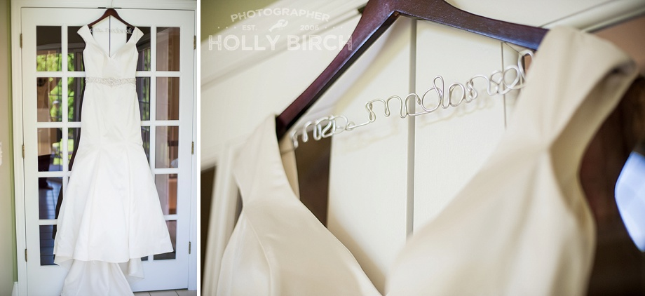 wedding dress with wire name hanger