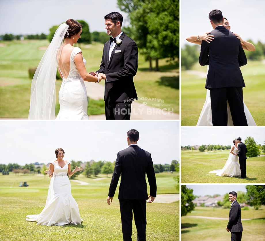 wedding first look on golf course