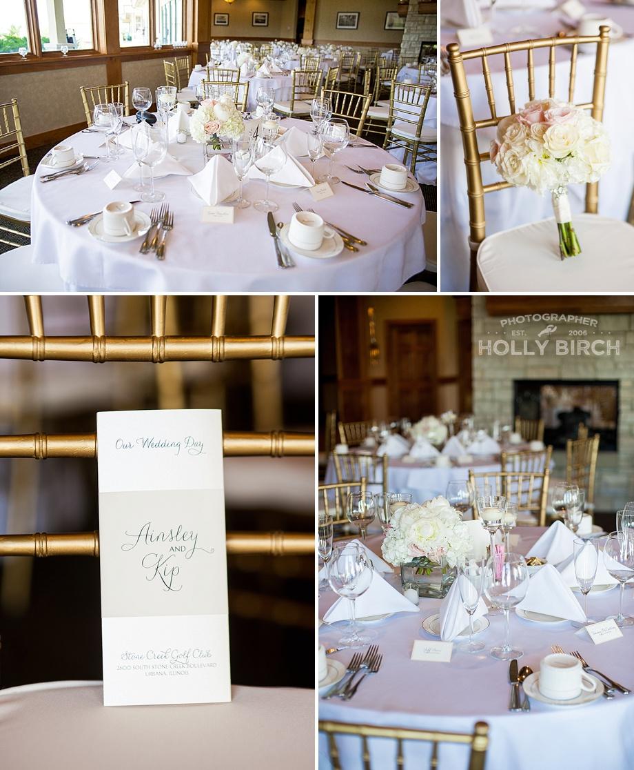 Stone Creek wedding setup with gold chivari chairs