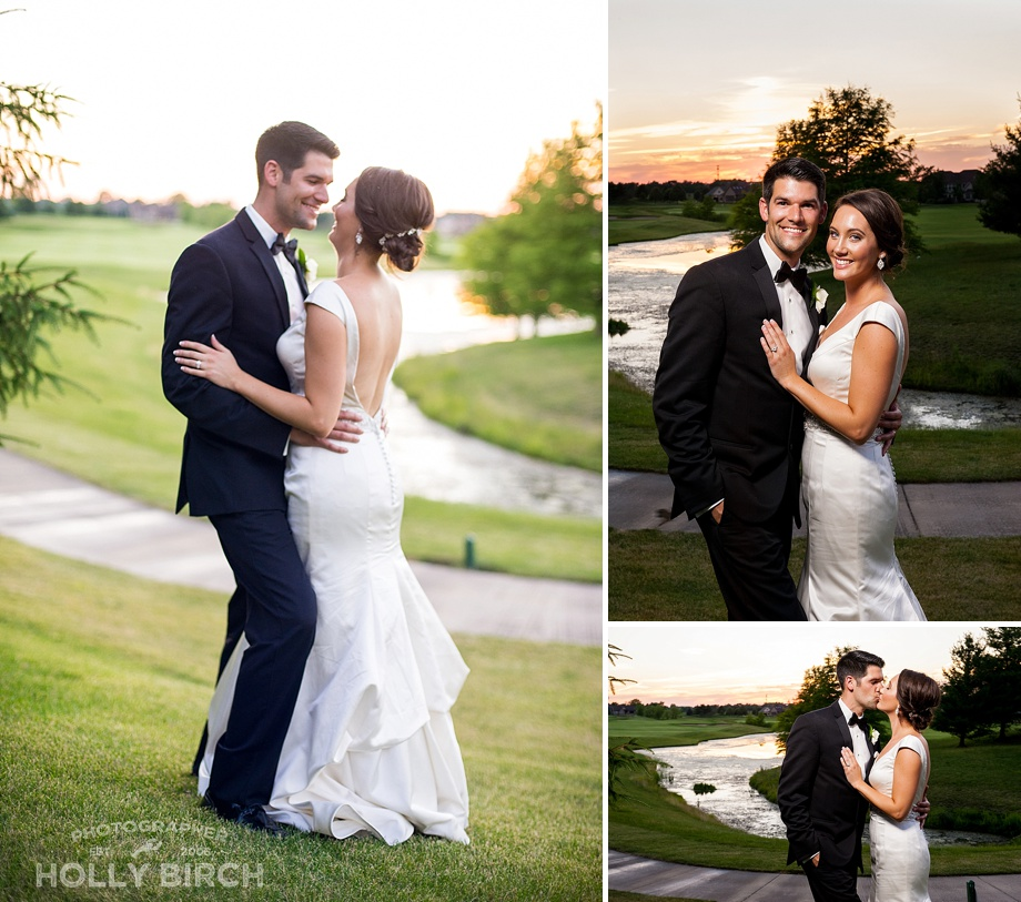 sunset photos on golf course with couple