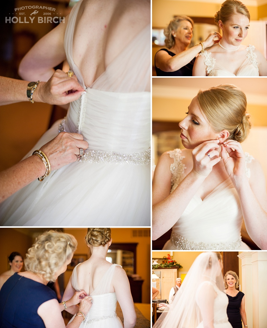 bride putting on her dress and jewelry