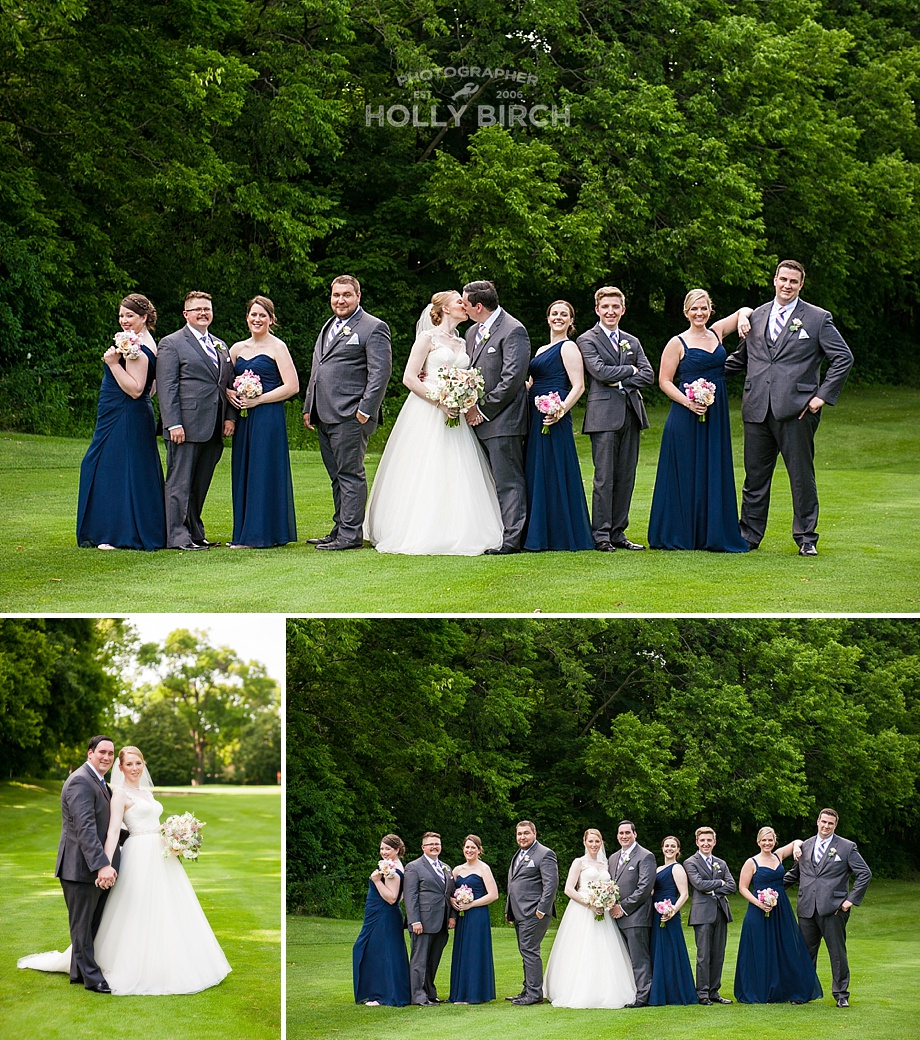 navy gray and blush wedding party