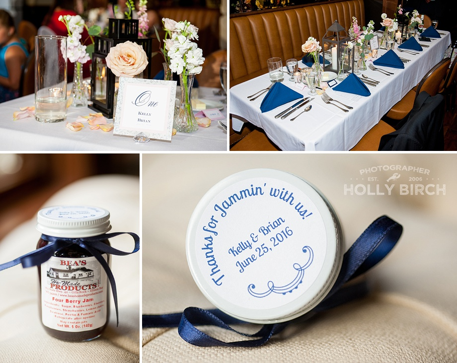 navy wedding details and favors