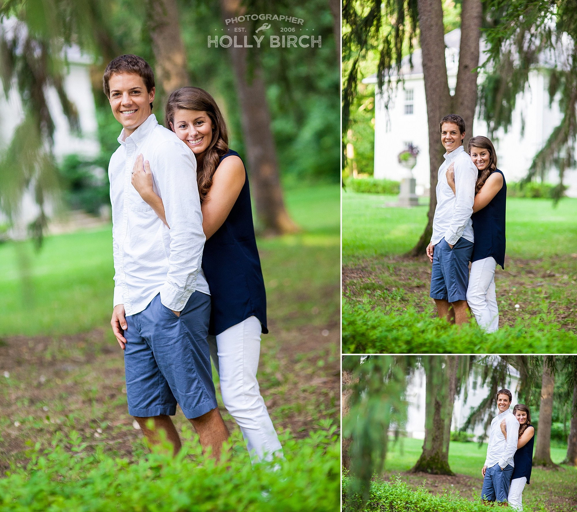 engagement pictures with drooping tree branches