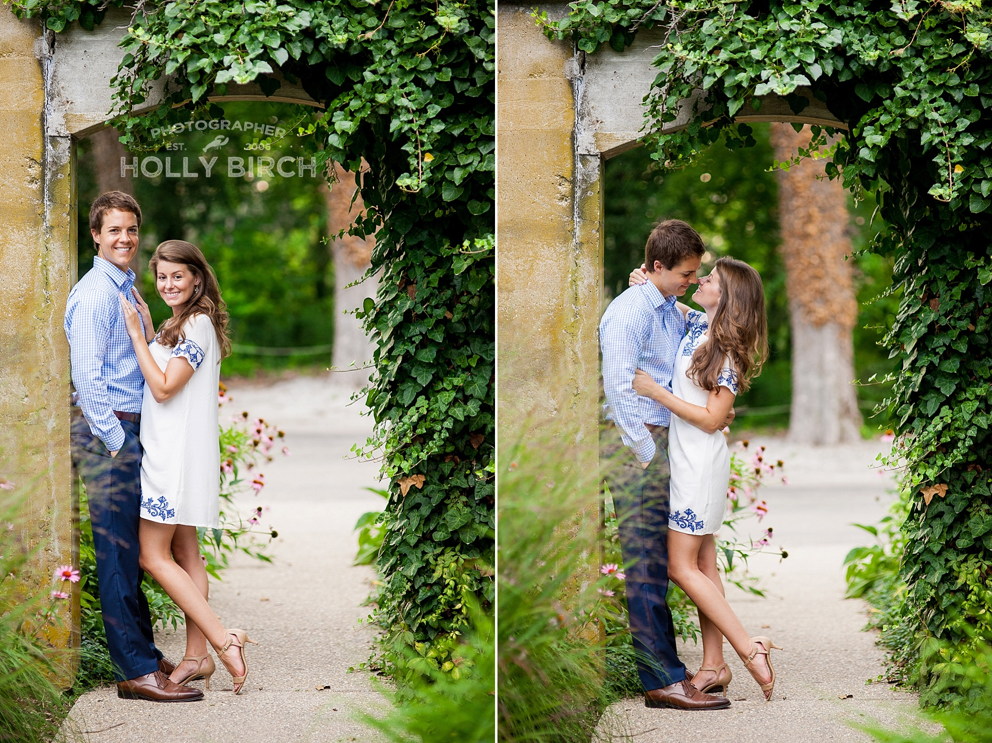 engagement poses with ivy covered doorway