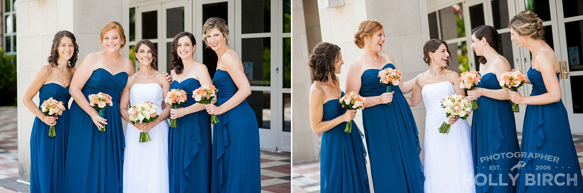 bridesmaids in peacock blue