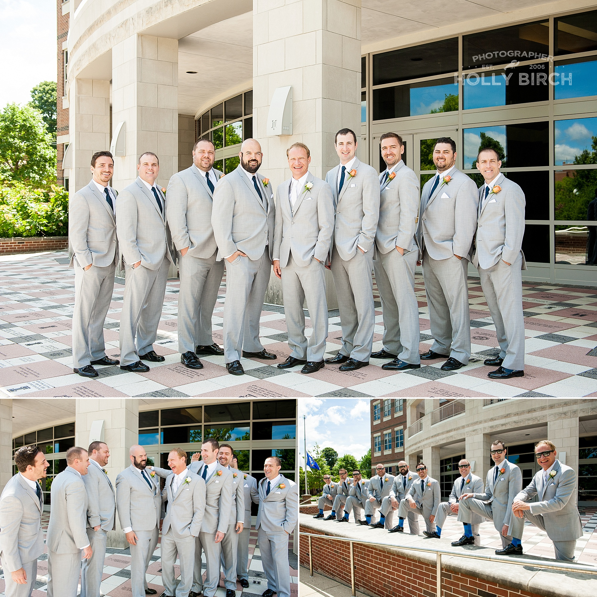 groomsmen in gray suits at University of Illinois
